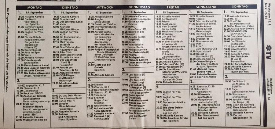 DDR Fernsehprogramm 1986